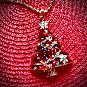 Red Christmas Enamel Pendant necklace NWT